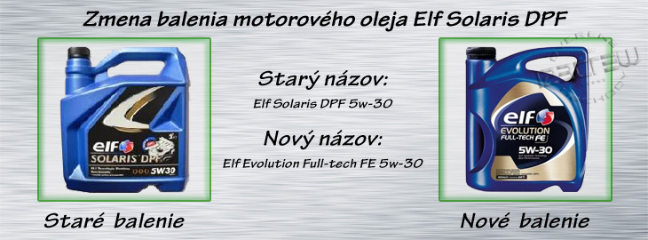 znema balenia Elf solaris dpf 5w30, Elf evolution full-tec fe 5w30
